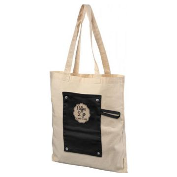 Snap Buttoned Tote Bag